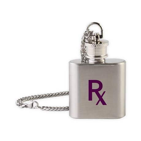 Purple Rx Symbol Flask Necklace