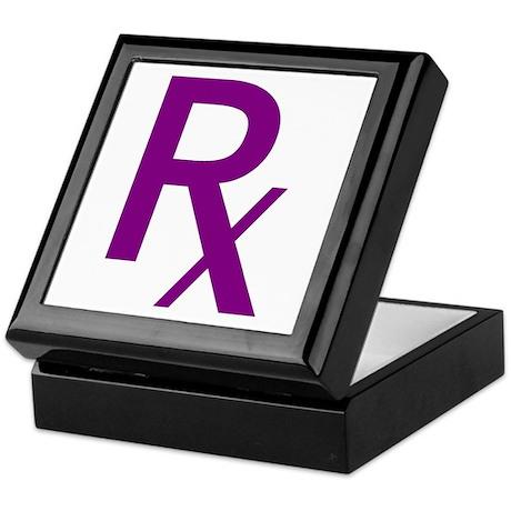 Purple Rx Symbol Keepsake Box