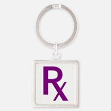Purple Rx Symbol Square Keychain