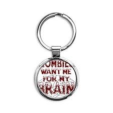 ZombiesWantBrains Round Keychain