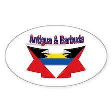 Antigua flag ribbon Oval Decal