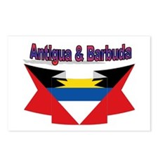 Antigua flag ribbon Postcards (Package of 8)