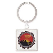 Indians On The Prairie Design Square Keychain
