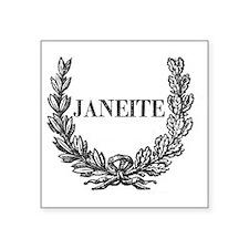 """janeite button ornate Square Sticker 3"""" x 3"""""""