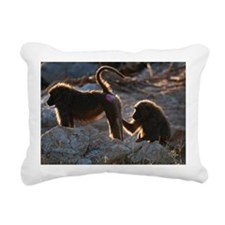 Two olive baboon (Papio  Rectangular Canvas Pillow