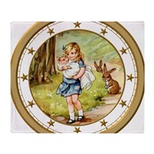 CLOCK Alice  the Pig Baby Gold Star Throw Blanket