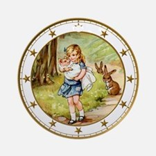 CLOCK Alice  the Pig Baby Gold Star Round Ornament