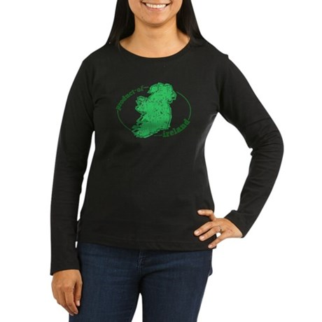 """Product of Ireland"" Women's Long Sleeve Dark T-Sh"