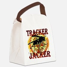 tracker jacker black letters hung Canvas Lunch Bag