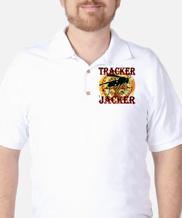 tracker jacker black letters hunger gam Golf Shirt