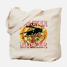 tracker jacker with white letters hunger  Tote Bag