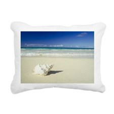 Shell lying on beach Rectangular Canvas Pillow