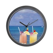 Tropical drinks against background of s Wall Clock
