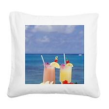 Tropical drinks against backg Square Canvas Pillow