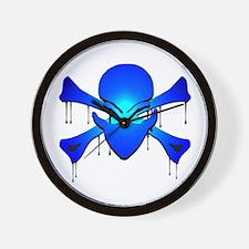Alien Skull N Crossbones Wall Clock