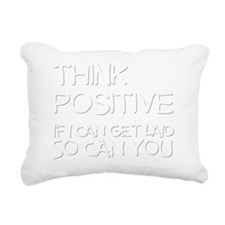 thinkpositivewhite Rectangular Canvas Pillow