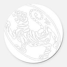 Skewed Tiger White Transparency Round Car Magnet