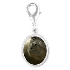 Monkey looking startled Silver Oval Charm