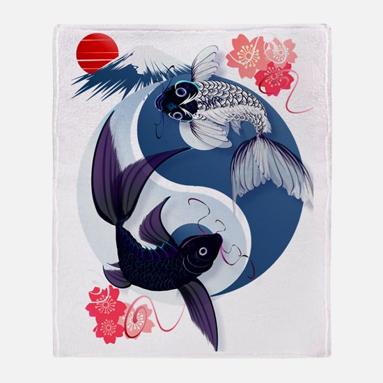 Yin Yang Koi Trans Throw Blanket