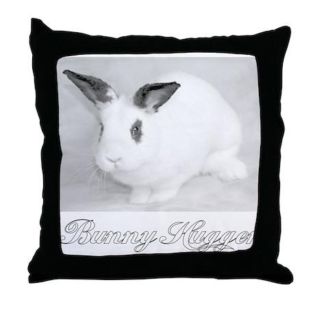 White Bunny Hugger Throw Pillow