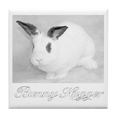 White Bunny Hugger Tile Coaster