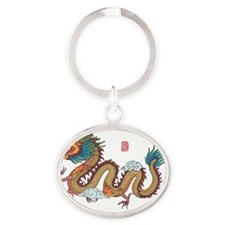 dragon-color-01 Oval Keychain