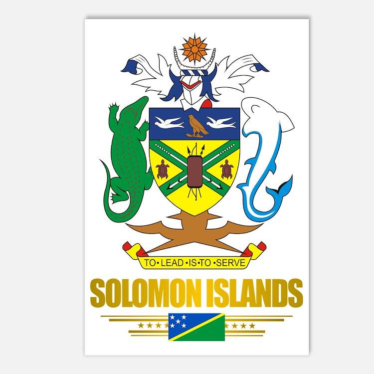 Solomon Islands COA (Flag Postcards (Package of 8)