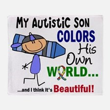D Son Colors His Own World Autism Throw Blanket