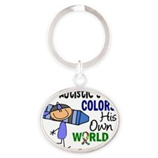 D Son Colors His Own World Autism Oval Keychain