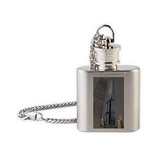 COLORED FILTER DONALD TRUMP BUILDIN Flask Necklace