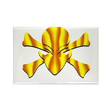 Alien Jolly Roger in Yellow Rectangle Magnet
