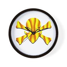 Alien Jolly Roger in Yellow Wall Clock