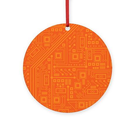 Orange Circuit Board Ornament (Round)