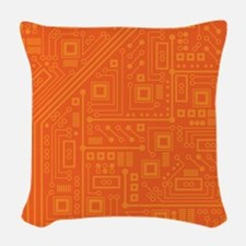 Orange Circuit Board Woven Throw Pillow