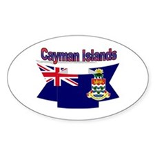 The Cayman flag ribbon Oval Decal