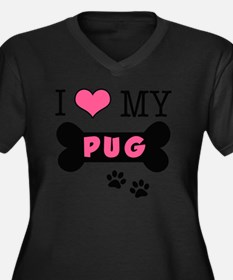 dogboneILOVE Women's Plus Size Dark V-Neck T-Shirt