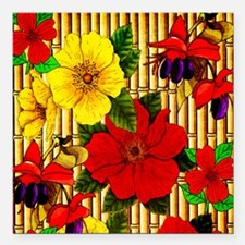 """Bamboo Flowers Square Car Magnet 3"""" x 3"""""""
