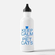 keepCALM-petcats-Bl Water Bottle