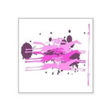 "The Horse Race in Pink Square Sticker 3"" x 3"""
