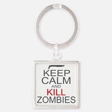 keepCALM-zombies-gr Square Keychain