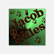 "Jacob Rules shower Square Sticker 3"" x 3"""