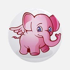 Pink Elephant Round Ornament