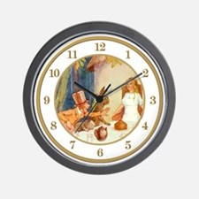 CLOCK Alice At the Tea Party Gold Wall Clock