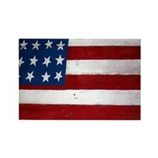 Patrotic flag on barn note card Rectangle Magnet