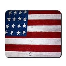 Patrotic flag on barn note card Mousepad