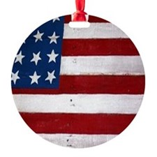 Patrotic flag on barn note card Ornament