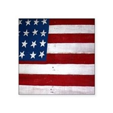 "Patrotic flag on barn note  Square Sticker 3"" x 3"""