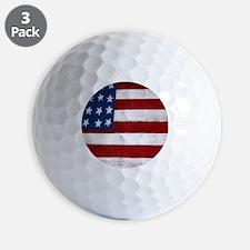 Patrotic flag on barn note card Golf Ball