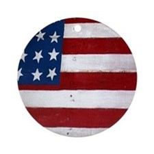 Patrotic flag on barn note card Round Ornament