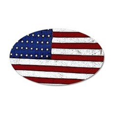 Patrotic flag poster note ca 35x21 Oval Wall Decal